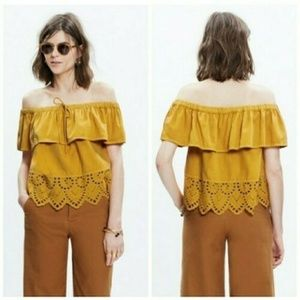 Madewell Eyelet Off the Shoulder Mustard Top